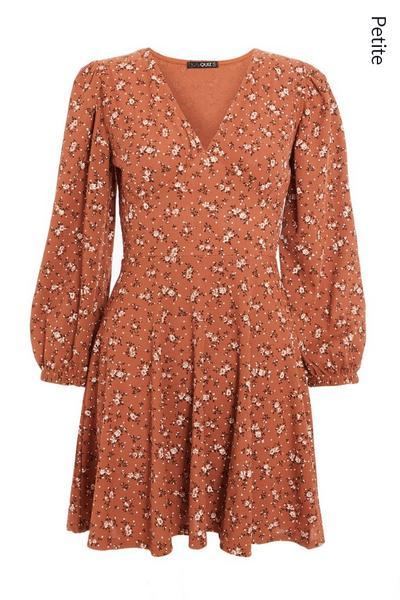Petite Rust Floral Ribbed Skater Dress